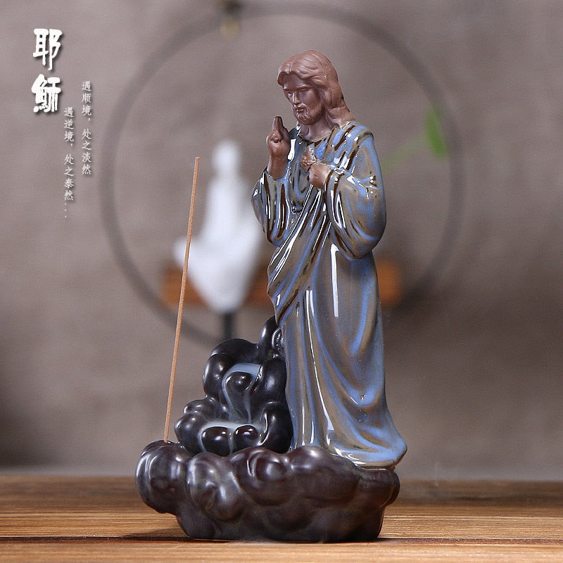 Anonymity Jesus goddess Incense Burner Lotus Holder Censer Creative Ceramic Aromatherapy Smoke Backflow Stick Incense Censer