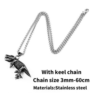 BEIER Stainless steel Dinosaur Pendant Necklace Skyrim Elder Scrolls Dragon Pendants Vintage Necklace For Men Jewelry BP8-379