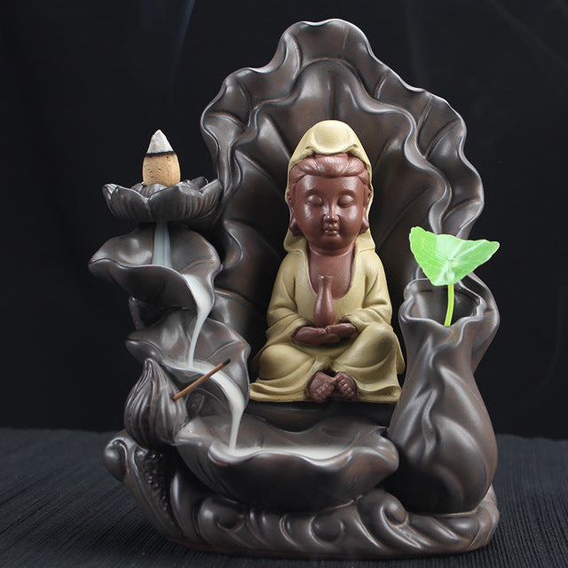 Backflow Cones Stick Incense Burner Little Monk Buddha Crafts Incense Burners Mountain Smoke Backflow Like Water Streaming Down