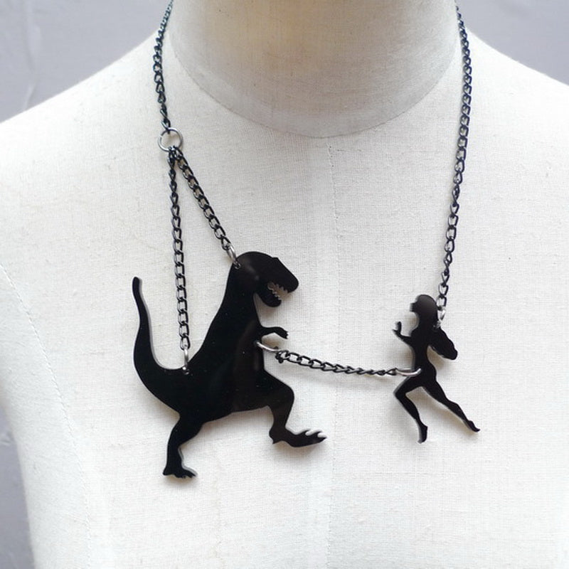 Beauty versus Dinosaur Fashion Themes Necklace Laser cutting Acrylic Pendant Creative Animal Statement Necklace