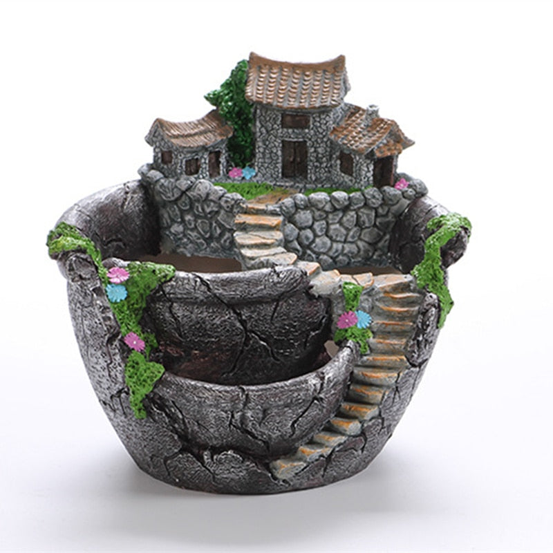 Cartoon Style Creative Desktop Landscape Flower Pot  Garden Design Flowers Baskets Succulents Plants Holder House Bonsai  Pots