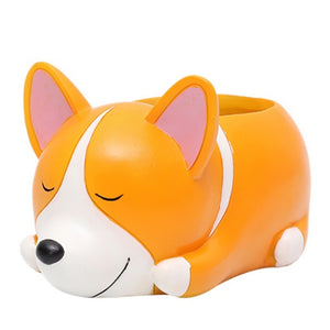 Creative Cartoon Dog Flower Planter Puppy Resin Planter for Succulents Cute Corgi Mini Flower Desktop Pots Home Garden