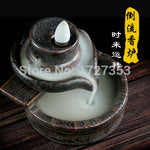 Creative backflow censer, ceramic incense burner, purple clay, aromatherapy, smoke flow, Buddha, incensory, 3 styles optional~
