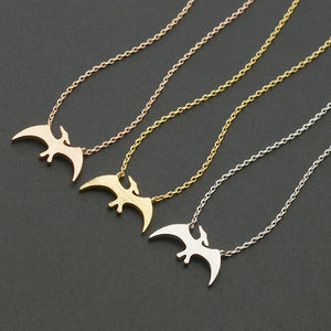 Daisies 1pc Fashion Gold Silver Pterodactyl Necklace Dinosaur Pterosaur Necklaces Pendant Animal For Women Jewelry collier femme