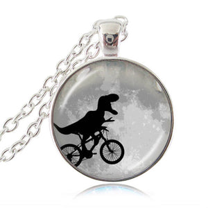 Dinosaur on Bike Necklace Full Moon Pendant Bicycle Jewelry Punk Animal Sweater Chain Necklace Fashion Clothing Accessories HZ1