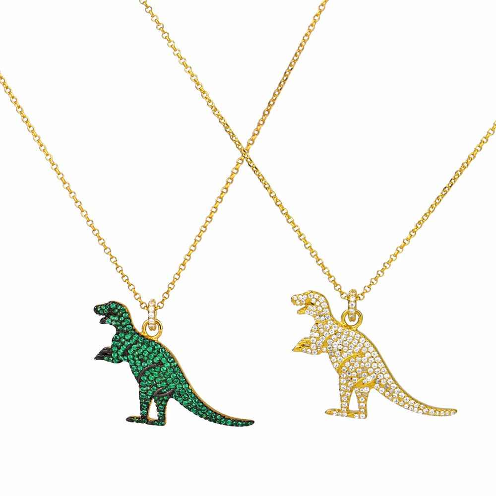 European Fashion Golden Green Dinosaur Zircon Necklace fashion ZK40
