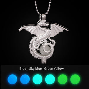 Fierce Western Dinosaur Chain Pendant Locket Necklace Imitation Pearl & Luminous Bead for Women Fashion Charms Cool DIY Jewelry