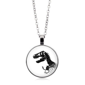 Glow In The Dark Jewelry Dinosaur Photo Glass Cabochon Pendant Silver Chain Luminous Necklace Women Jewelry Accessories