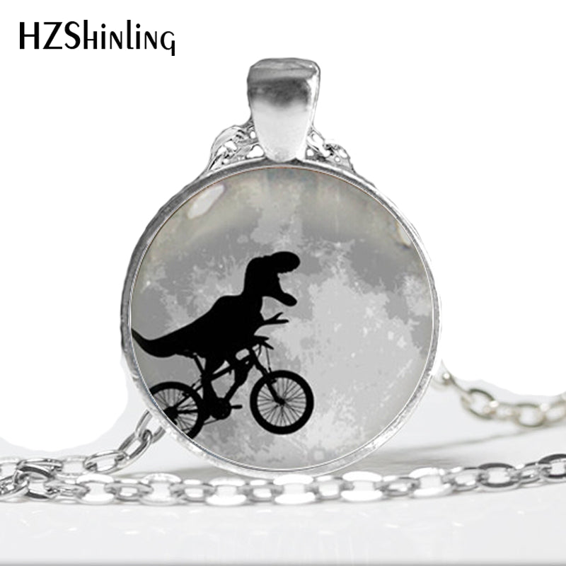 HZ--A90 2017 New Fashion Man Fashion Brozen Pendant Necklace Black Dinosaur Necklace dinosaur on bike Pendant Glass Cabochon HZ1