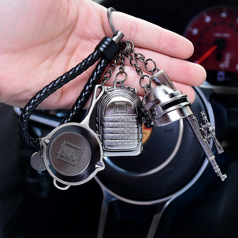 High Quality PUBG Arms Mini Model Metal Keychains Helmet 98K Backpack Pan Key Ring Car Purse Men Key Chains Holder Trinkets Gift