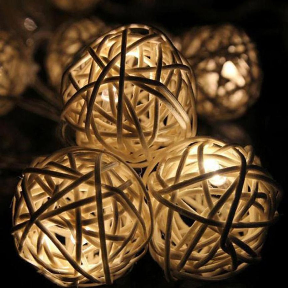 Holiday Light Rattan Ball String Light 10 LED Christmas House Decoration Warm Cool White Battery AA 1.2 M lustre Square New Year