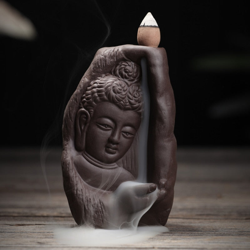 Home Decor Creative Buddhism Incense Burner Buddha Bullet Blackflow Incense Cones Or Burner Smoke Ceramic Censer N32