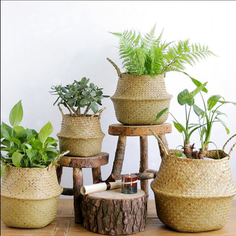Home Garden Seagrass Wickerwork Basket Rattan Foldable Hanging Flower Pot Planter Woven Dirty Laundry Basket Storage Basket