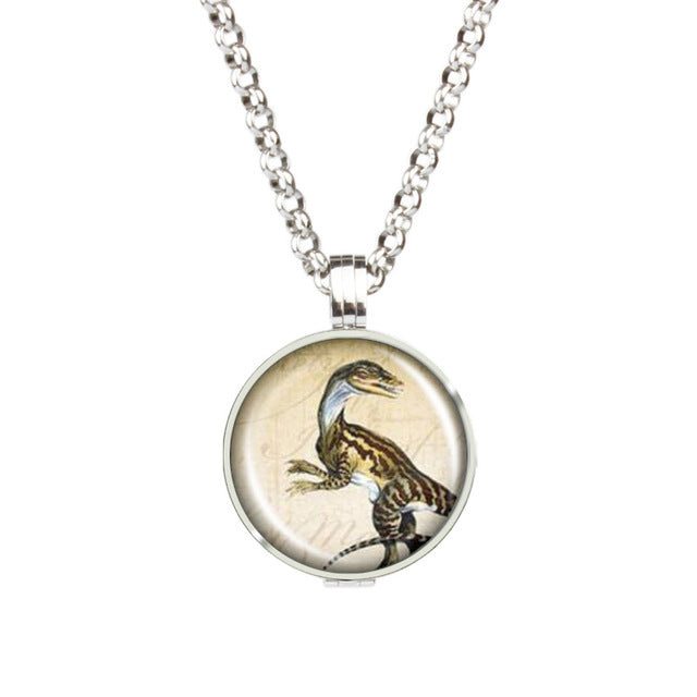 Hot Dinosaur Picture Photos Aromatherapy Diffuser Locket Pendant Stainless Steel Hollow Out Locket Necklace With Pads