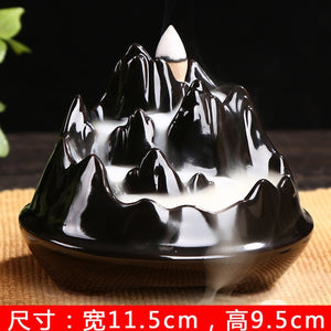 Incensory Buddha statue Incense cones Ceramic Censer Incense holder Burner Zen Backflow Incense burner smoke+10 Incense Cones