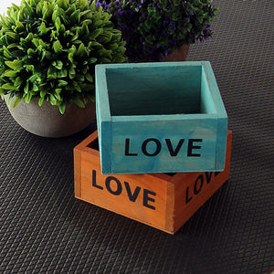 LOVE Hand made Retro Style Wooden Succulent Plants Handmade Square Flower Pot Creative Free Ship Drop Shipping maceteros