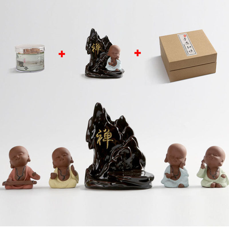Little Monk Censer Ceramic Smoke Backflow Incense Burner Yixing Purple Clay Buddha Pottery Base Tea Pet Creative Gift Home Decor