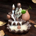 Little Monk Small Buddha Censer Home Decor Ceramic Smoke Backflow Incense Burner Holder + 10Pcs Incense Cones