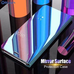 Luxury Mirror Smart Clear View Phone Case For Samsung Galaxy S8 S6 S9 Plus Note 8 S7 Edge Flip Cover For Samsung A3 A5 A7 2017