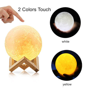 3D Printed Moon Lamp, LED 16 Colors RGB Moon Night Light Lamp, Remote & Touch Control, Dimmable, Color Changing, USB Recharge, Seamless Lunar Moonlight Lamp with Stand for Baby Bedrooms
