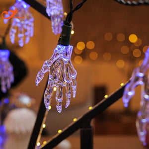 New 2018 10 LED String Lights Halloween Skeleton Hands Colorful Flash Mood Bulb Terror Atmosphere Outdoor Curtain House Decor