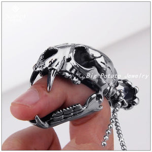 New Design Dinosaur Fossils Male Pendant Silver Stainless Steel Punk Skull Men's Pendant Necklace,One Fashion Chain For Free