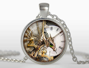 New Round Glass Jewelry Steampunk Photo Pendant Clock Quarts Necklace Steam Punk Dinosaur Pendants Necklaces Link Chain HZ1