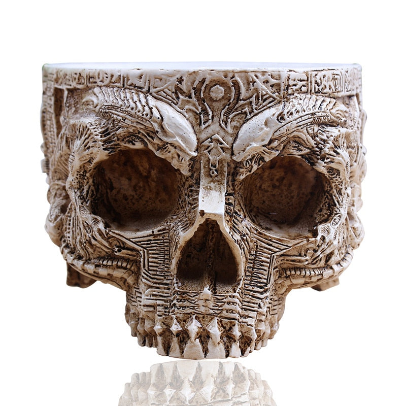P-Flame White Antique Sculpture Human Skull Planter Garden Storage Pots Container Macetas Decoration Flower Pot For Home Decor