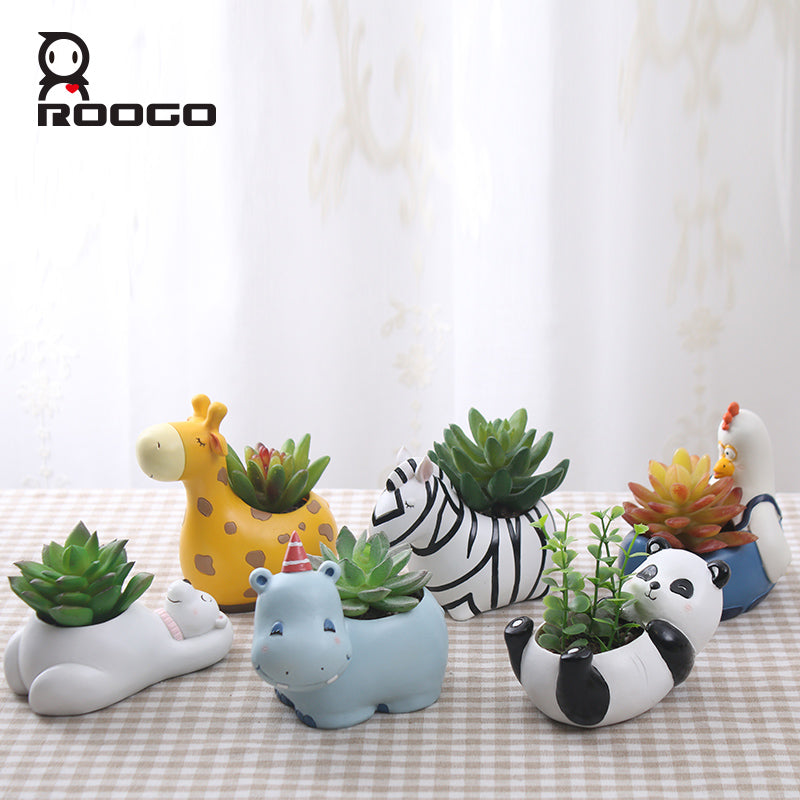 Cartoon Succulent Planter Pot Resin Creative Handicraft Animals Kawaii Shape Desktop Decoration Flower Pots