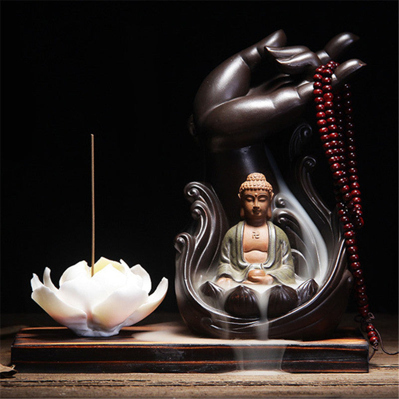 Room Fragrance Incense Censer Ceramic Aromatherapy  Burner Bergamot Lotus Vintage Line Glaze Buddha Smoke Backflow Plate