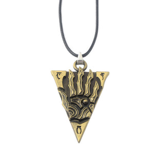 SG High Quality Antique Bronze The Elder Scrolls Morrowind Letter Pendants Necklaces Skyrim Dinosaur Triangle Women Men Necklace