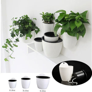 Self Watering Plant Flower Pot Wall Hanging Plastic Planter Basket Garden Supply Home Garden Decoration Drop shipping