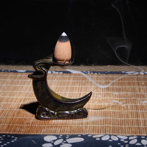 Small Buddha Censer Creative Buddhist Backflow Incense Burner Smoke Glaze Censer Cone Holder Cones Home Office Teahouse Decor