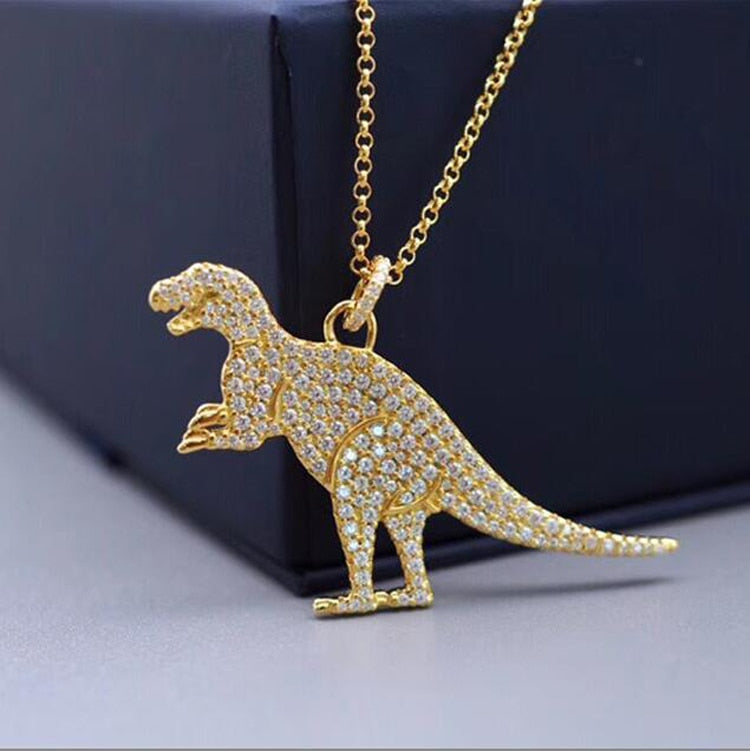Top Quality New Fashion Micro Mosaic AAA+ Zircon Cute Dinosaur Pendant Necklace Gold Jewelry for Women
