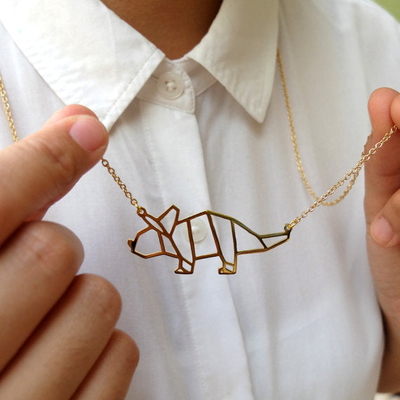 Wholesale Trendy Gold Silver Color Triceratops Necklace Women Origami Statement Necklace Dinosaur Jewelry Kolye Cs Go Collares