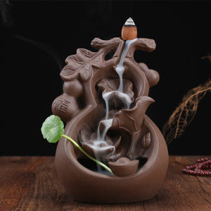 YXY Home Handcrafts Decor Creative Violet Arenaceous Gourd Incense Burner Ceramic Reversal Smoke Cone Censers Burner Buddha