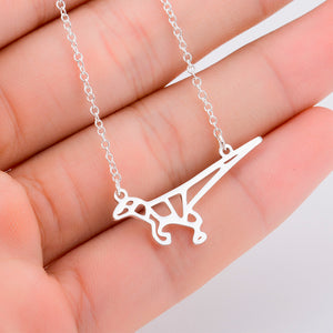 Yiustar New Gold Dinosaur Necklace Hollow Origami Chain Pendant Necklace For Women Jewelry Accessories Animal Necklace XL345