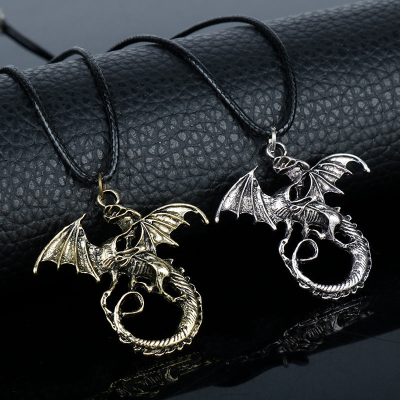 dongsheng Fashion Jewelry The Elder Scrolls Skyrim dinosaur Pendant Necklace Men Necklace retro Movie Jewelry Gift-30