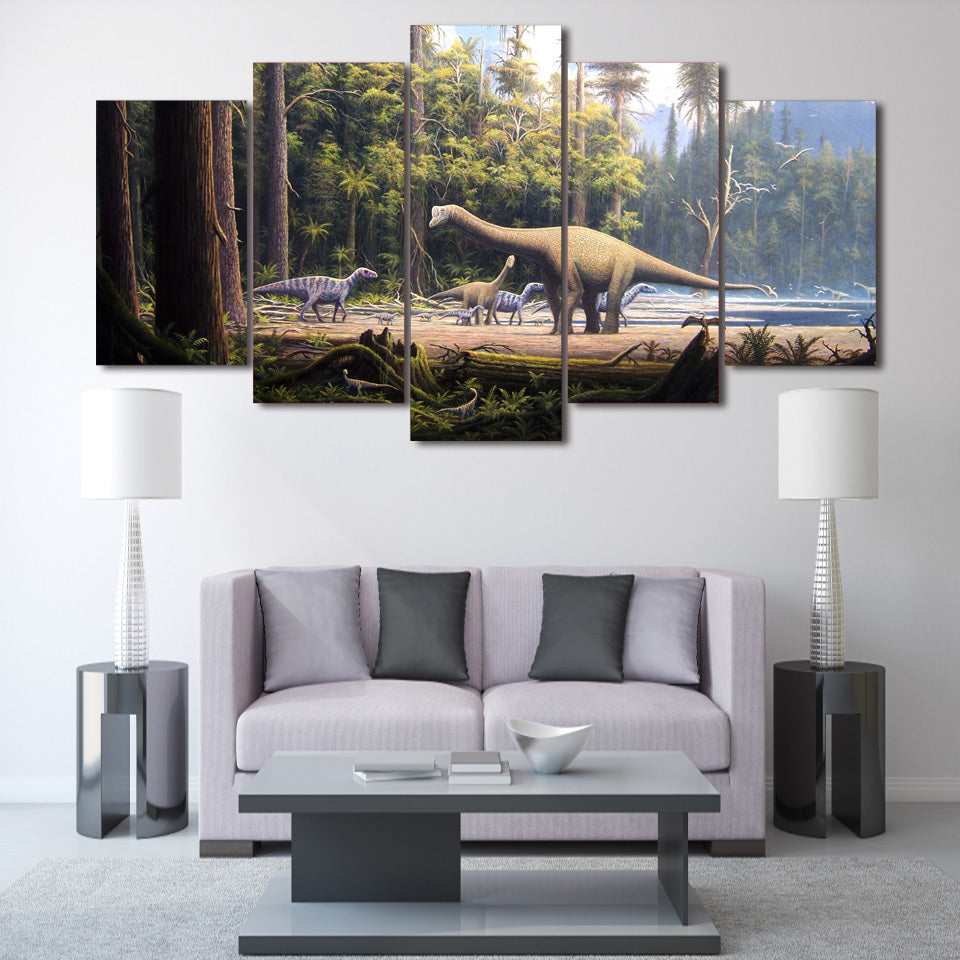 HD Printed Prehistoric dinosaur seascape Group Painting room decor print poster picture canvas