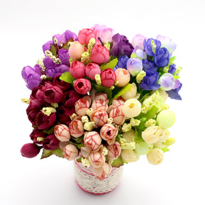 Lucia crafts 1bundle(15 heads) Colorful Silk Flowers artificial flower Mini roses Home Decor for wedding decoration 027033027