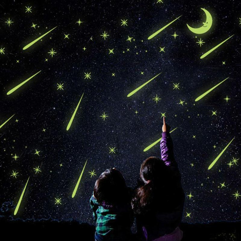 Meteor Moon Fluorescent Wall Stickers for Kids Bedroom Luminous Home Decor DIY Wall Art Decals Glitter Wallpaper Decoration
