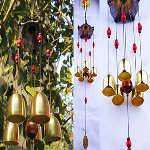 Copper 5 Bells Wind Chimes Pentagon Pavilion Feng Shui Decorations Windchimes for Outdoor Home Garden Yard Mascot Gifts