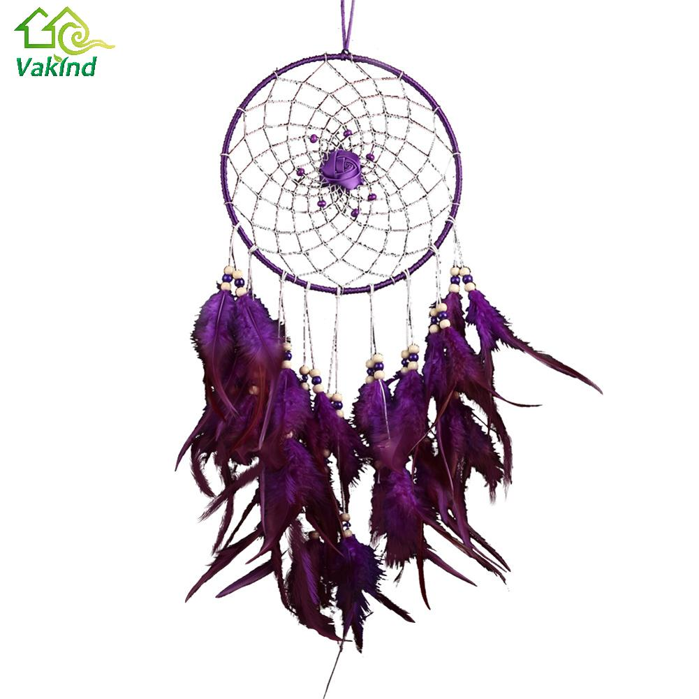 Purple Dreamcatcher Feather Craft Dream Catcher Net with Bead Rose Tassel Home Wall Hanging Decoration Ornaments