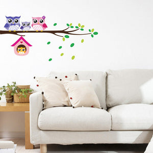 Cartoon Tree Animal Wall Stickers Kids Room Kindergarten Owl DIY PVC Wall Art Decals for Kids Bedroom Home Decoration