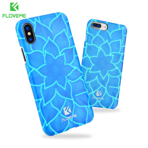 FLOVEME 3D Lotus Phone Case for iPhone X 10 , Luminous Flower Mobile Cover Phone Bag Cases for iPhone 7 8 8 Plus 4.7 - 5.8 inch
