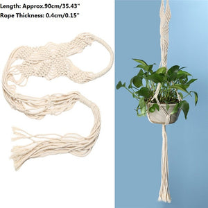 Vintage Knotted Plant Hanger Basket Flowerpot Holder Macrame Lifting Rope Garden Home Decoration Flower Plant Display