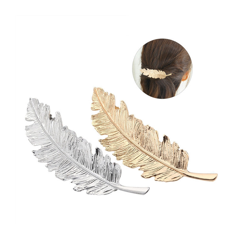 PIXNOR 2pcs Leaf / Feather Shaped Hair Clip Pin Claw Hair Accessories