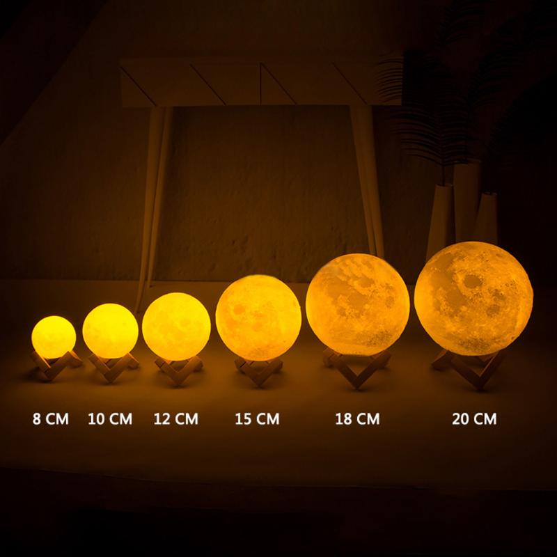 Rechargeable 3D Print Moon Lamp Colorful Change Touch Switch Bedroom Bookcase Night Light Christmas Home Decor