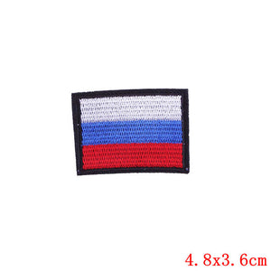 Prajna Flag Patches Iron-on Sticker Russia US UK Quebec Canada Embroidery Patch Applique Clothes Patriotic Military Badges Cloth