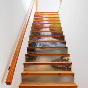 13Pcs Sunshine Waterfall 3D Stair Wall Stickers Art Stair Sticker PVC Decals for Home Decoration DIY Wall Paper Sticker